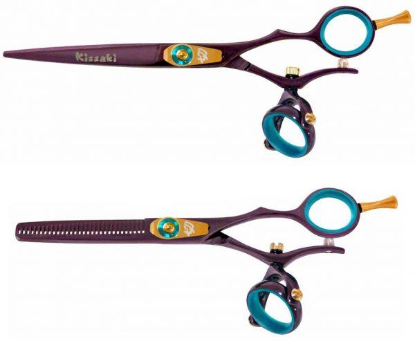 Gokatana 6.0″ & Kanagawa 30t Hair Scissors Double Swivel Black Cherry B Titanium Set
