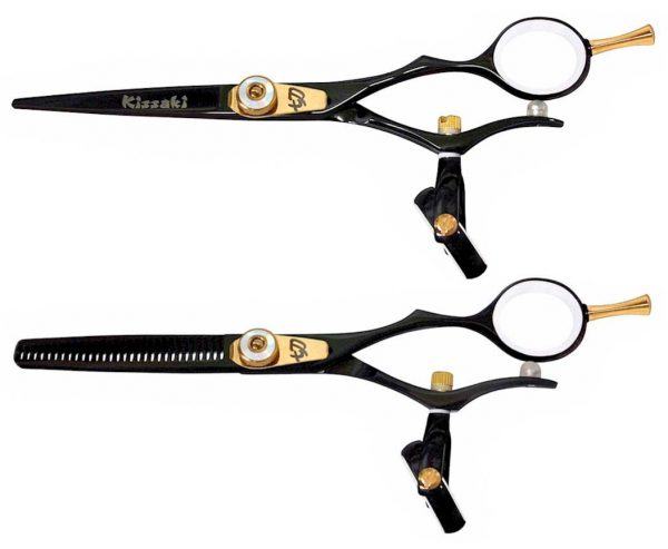 Gokatana 5.5″ & Kanagawa 30t Hair Scissors Double Swivel Black W Titanium Combo