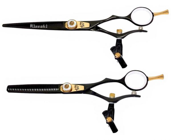 Gokatana 6.0″ & Kanagawa 30t Hair Scissors Double Swivel Black W Titanium Combo