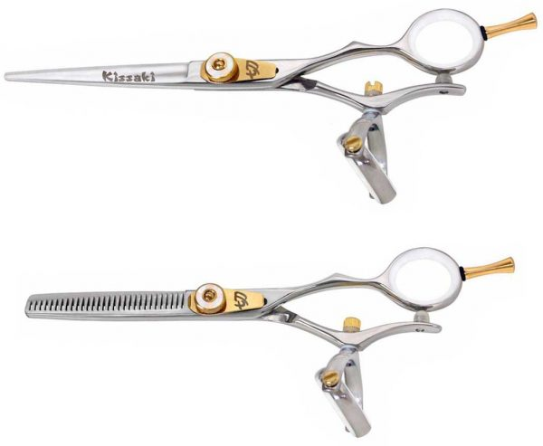 Gokatana 6.0″ & Kanagawa 30 tooth Silver W Double Swivel Hair Scissors Combo