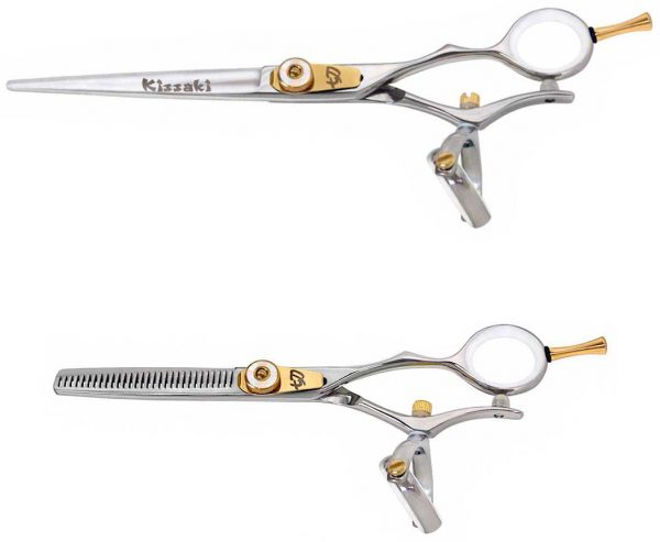 Gokatana 7.0″ & Kanagawa 30 tooth Silver W Double Swivel Hair Scissors Combo