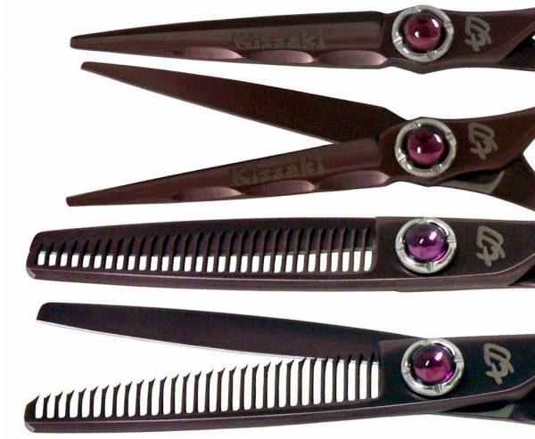 Ryu-Jin 5.5″ & Byobu 30 tooth Black Cherry Hair Scissors Thinning Shears Combo