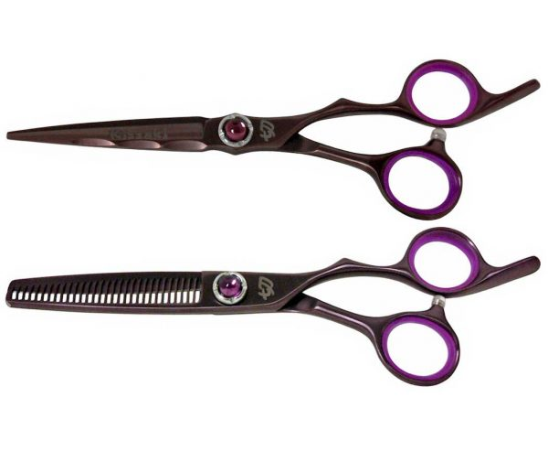 Ryu-Jin 6.0″ & Byobu 30 tooth Black Cherry Hair Scissors Thinning Shears Combo