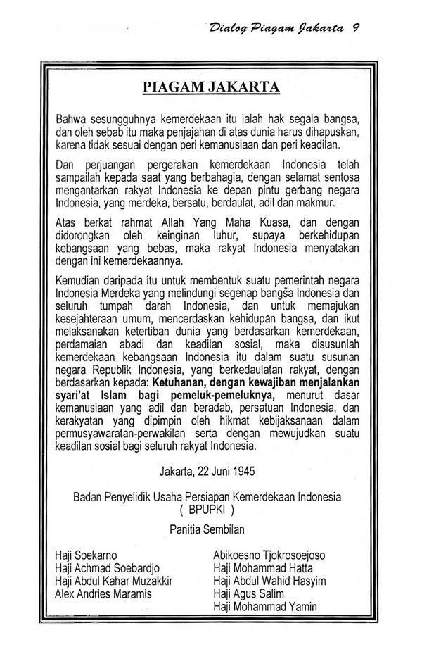 Sebutkan Isi Piagam Jakarta : sebutkan, piagam, jakarta, Tujuh, Piagam, Jakarta, Hilang, Bacalah