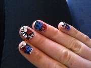 red blue and white crown nails