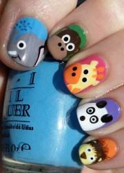 animal nail art kiss and