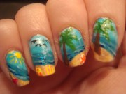 summer nail art kiss and