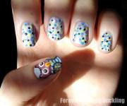 owl nail art kiss and