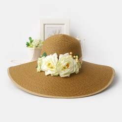 coffee-wide-brim-sun-hat-white-flowers-ladies7479