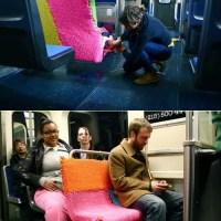Subway Seat Yarn Bomb