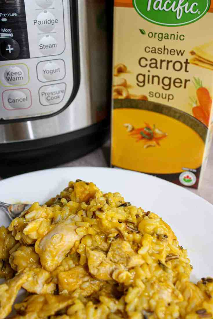 This Instant Pot Carrot Ginger Chicken with Rice is a mildly spiced dinner that the whole family can enjoy.