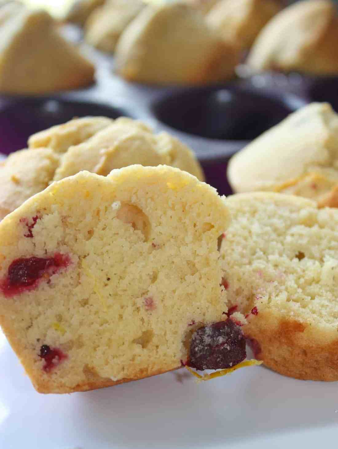 Lemon and cranberry are a winning combination and these muffins do not disappoint!  Eat them warm right out of the oven or save them for later.  These lemon cranberry muffins are a great snack any time.