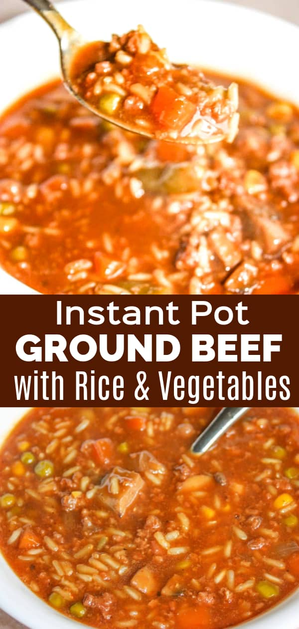 Instant Pot Ground Beef with Rice and Vegetables is an easy gluten free dinner recipe. This pressure cooker ground beef recipe is loaded with long grain rice and frozen mixed vegetables.
