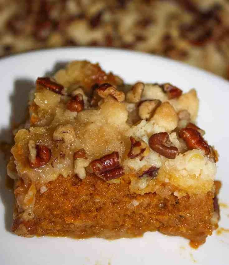 Pumpkin Surprise is a nice light dessert to serve after a dinner with all the trimmings.  This gluten free dessert is very easy to make and will delight your guests with the combination of fall flavours and the surprise topping of cake mix and pecans.