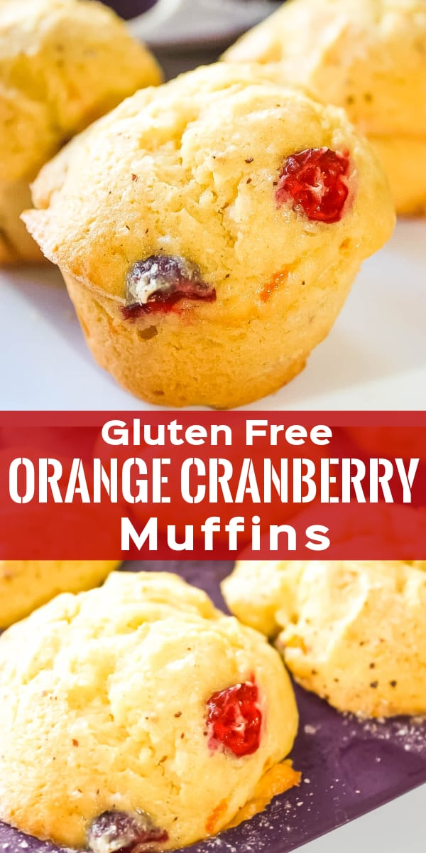 Gluten Free Orange Cranberry Muffins are delicious treat perfect for breakfast and snacks. These muffins are made with Bob's Red Mill flour and loaded with cranberries and orange zest.