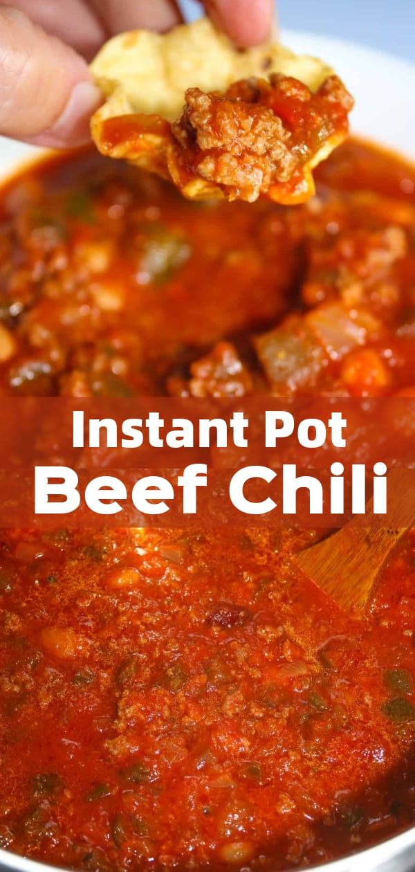 Instant Pot Beef Chili is an easy pressure cooker ground beef dinner recipe. This gluten free chili is loaded with hamburger meat, salsa and mixed beans.