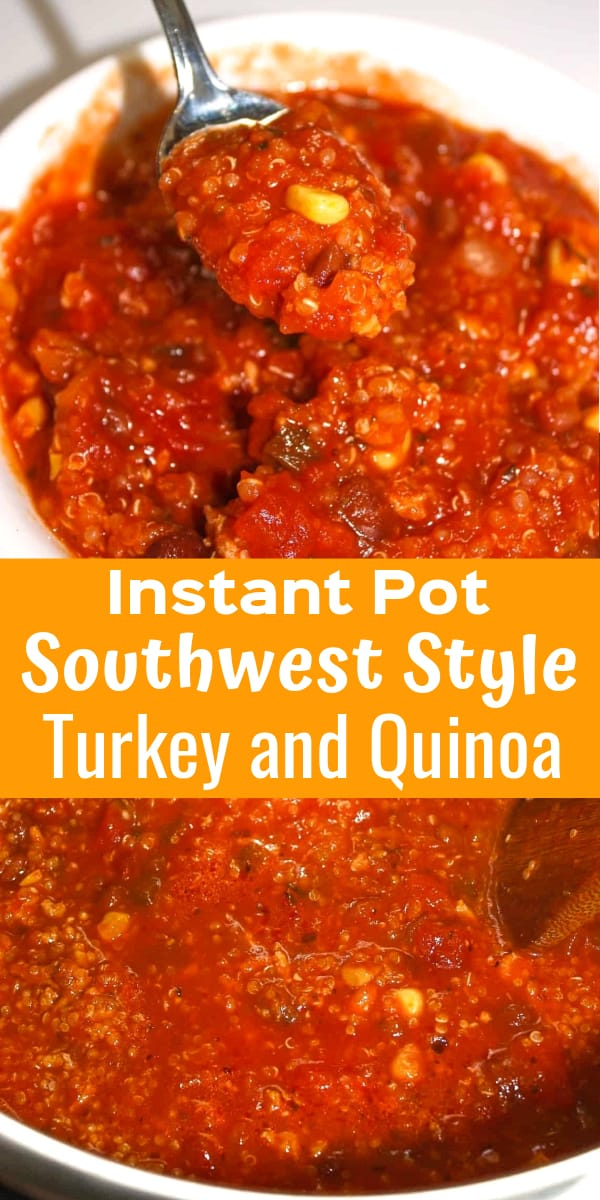 Instant Pot Southwest Style Turkey and Quinoa is an easy gluten free dinner recipe. This pressure cooker ground turkey recipe is loaded with beans, salsa and quinoa.
