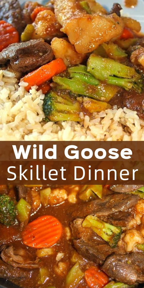 Wild Goose Skillet Dinner is an easy gluten free dinner recipe using wild goose breast. This tasty skillet is loaded with veggies and chunks of goose breast all tossed in a sweet BBQ sauce and served with rice.