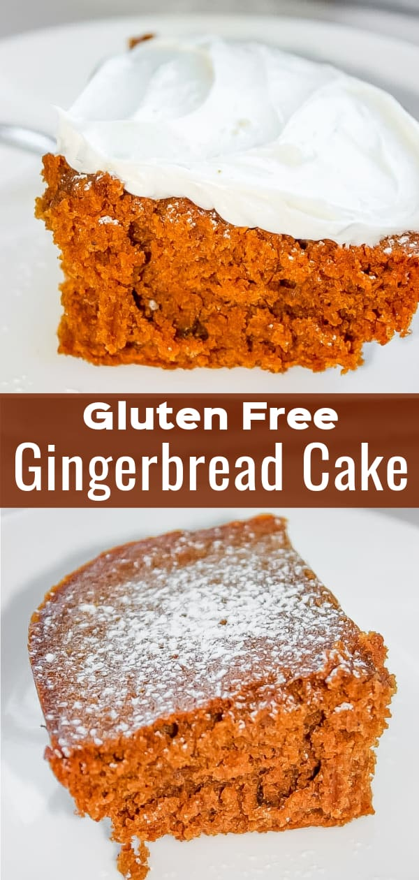 Gluten Free Gingerbread Cake is a moist and flavourful dessert perfrect for holiday meals. This delicious cake is made with Bob's Red Mill gluten free flour. Add this one to your gluten free Christmas baking list.