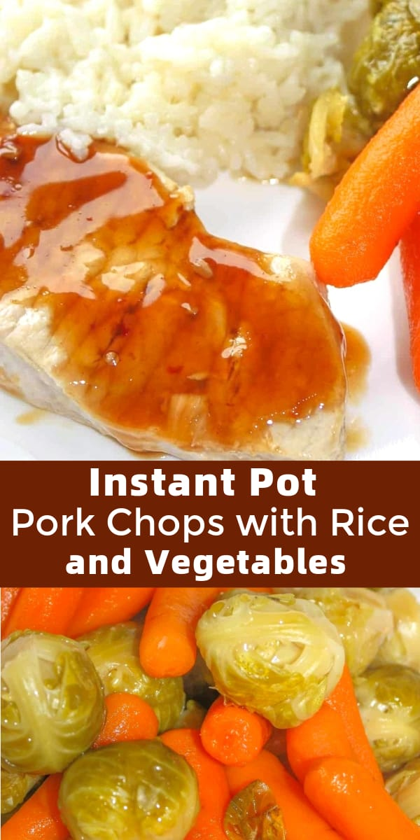 Instant Pot Pork Chops with Rice and Vegetables is an easy one pot dinner recipe perfect for weeknights. These teriyaki pork chops are cooked in a pressure cooker along with rice, baby carrots and brussel sprouts. Easy gluten free dinner recipe.