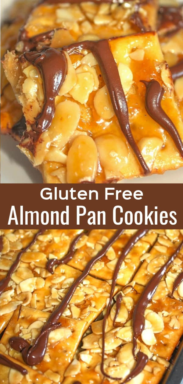 Gluten Free Almond Pan Cookies are an easy dessert recipe perfect for the holidays. These cracker toffee cookies are topped wtih sliced almonds and drizzled with chocolate.