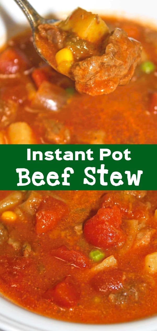 Instant Pot Beef Stew is an easy gluten free dinner recipe. This pressure cooker stew is loaded with veggies and chunks of beef in a tomato and beef broth base.