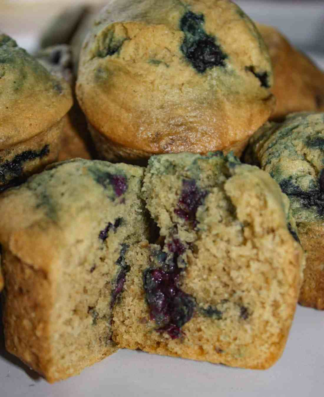 Gluten Free Blueberry Muffins, loaded with wild blueberries, are an appetizing breakfast or snack choice.
