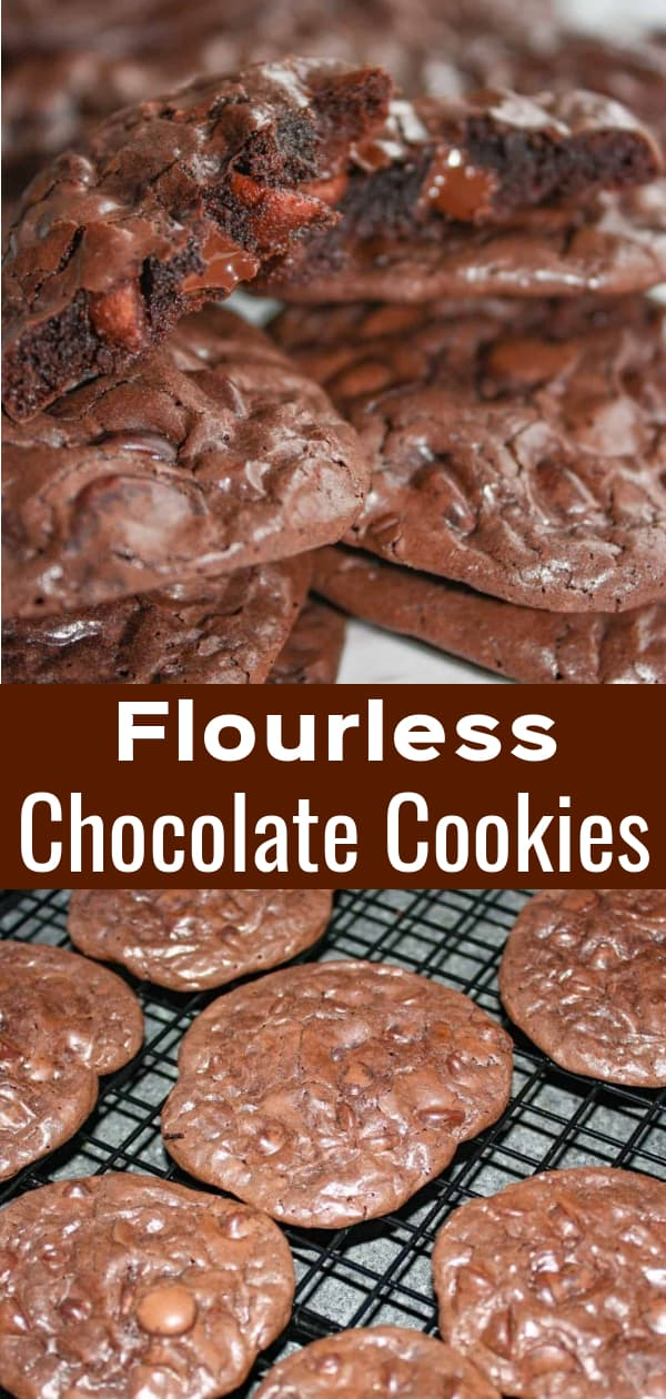 Flourless Chocolate Cookies are delicious gluten free cookies made with icing sugar and meringue powder. These chocolatey cookies are loaded with milk and semi sweet chocolate chips.