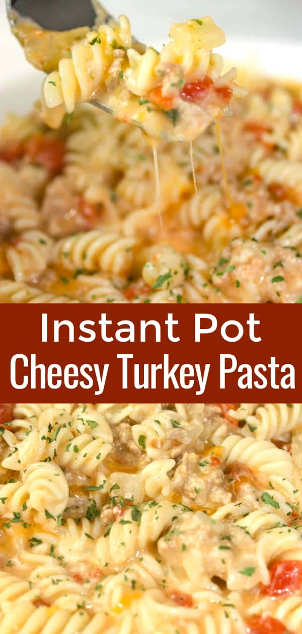 Instant Pot Cheesy Turkey Pasta is an easy pressure cooker dinner recipe. This ground turkey pasta is loaded with diced tomatoes anad smothered in cheese sauce.