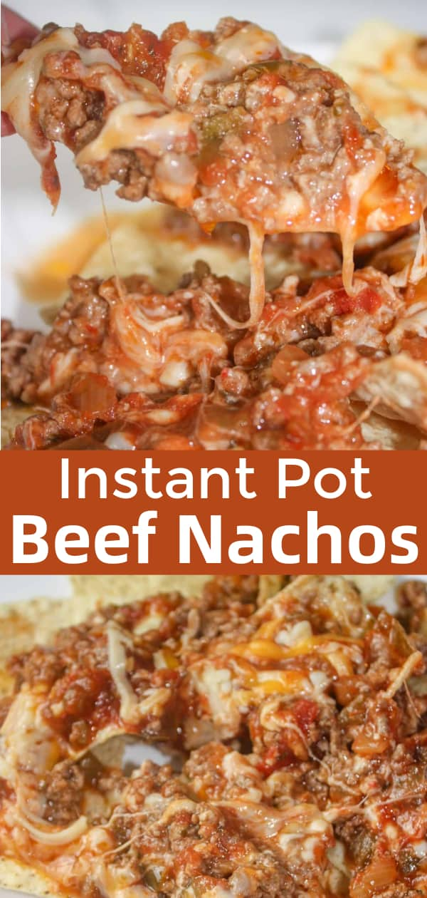 Instant Pot Beef Nachos are an easy dinner or party food recipe. These hearty nachos are loaded with a ground beef, cheese and salsa mixture prepared in the Instant Pot.