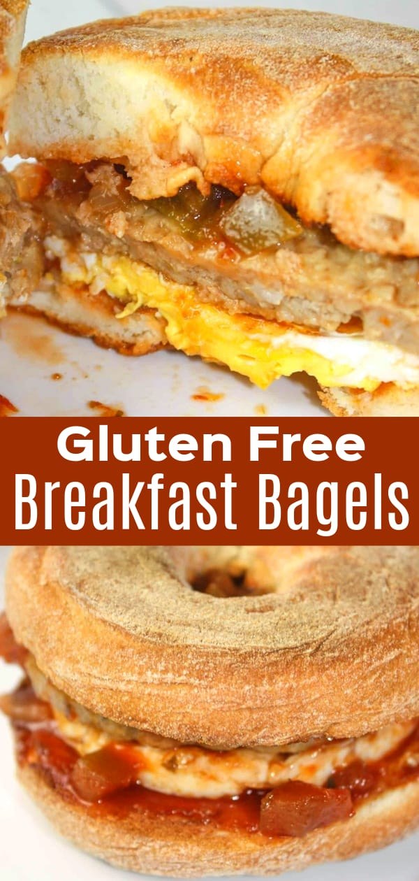 Gluten Free Breakfast Bagels are tasty breakfast sandwiches loaded with egg, sausage and maple salsa.