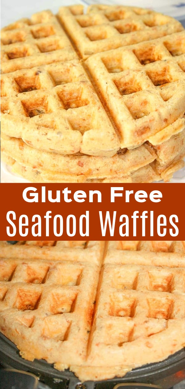 Gluten Free Seafood Waffles loaded with salmon and Swiss cheese.