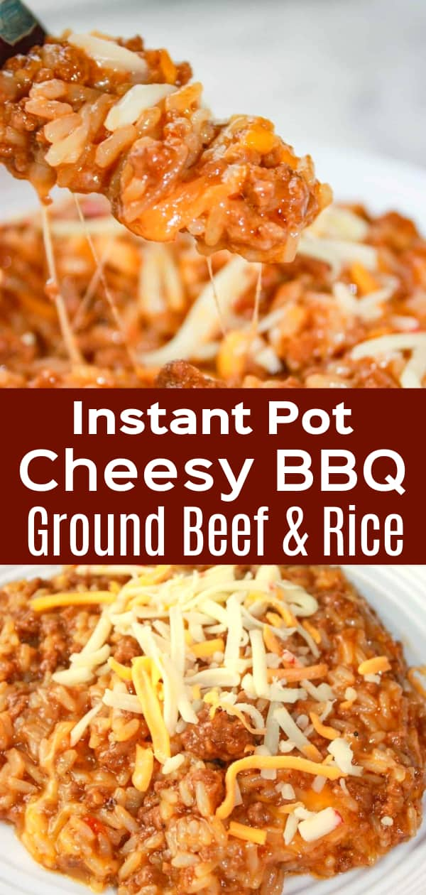 Instant Pot Cheesy BBQ Ground Beef and Rice is an easy gluten free dinner recipe. This pressure cooker ground beef and rice dish is loaded with barbecue sauce and shredded cheese.