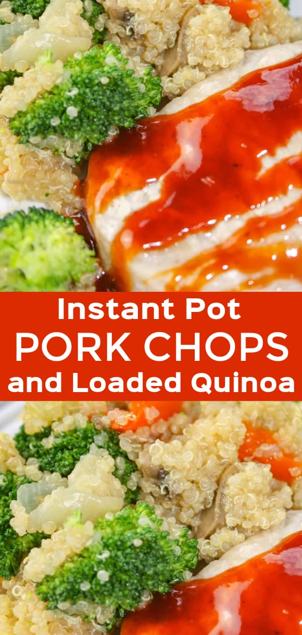 Instant Pot Pork Chops and Loaded Quinoa is an easy pressure cooker recipe that allows you to cook your whole meal at once. Quinoa, loaded with vegetables, and pork chops, smothered in BBQ sauce, provide a wholesome, flavourful dinner for your whole family.
