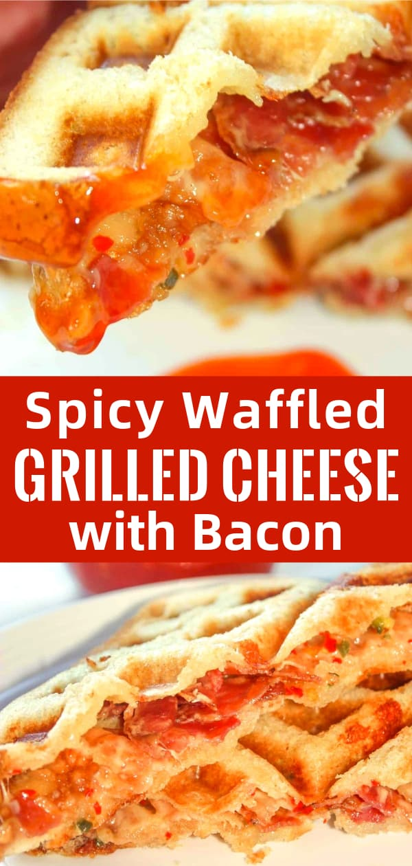 Spicy Waffled Grilled Cheese with Bacon is a delicious gluten free sandwich recipe. This spicy grilled cheese is made with mozzarella cheese loaded with peppers and slices of bacon and cooked in a waffle iron.
