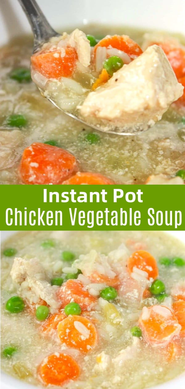 Instant Pot Chicken Vegetable Soup with Rice is a hearty soup loaded with chunks of chicken, vegetables and some long grain white rice.