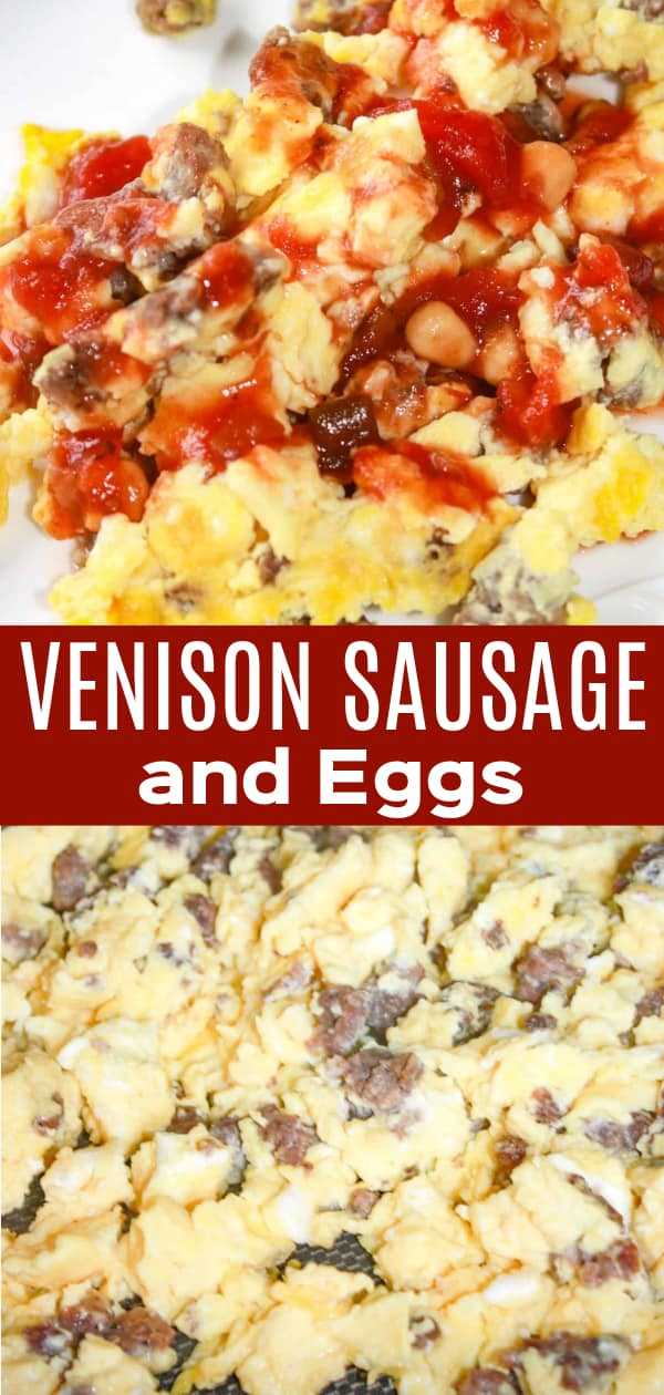 Venison Sausage and Eggs is a tasty breakfast dish topped with a salsa and maple syrup sauce.