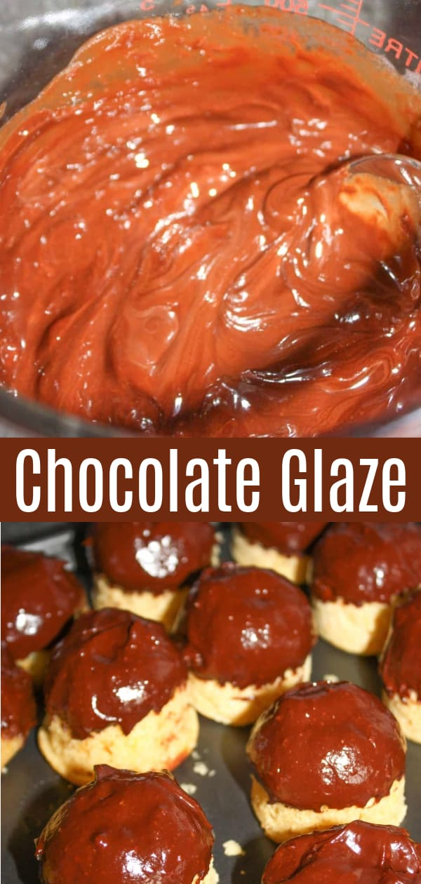 Chocolate glaze adds a sweet finishing touch to your baking.  It is quick and easy to make in the microwave and will harden on your baked goods to provide a rich chocolatey coating.