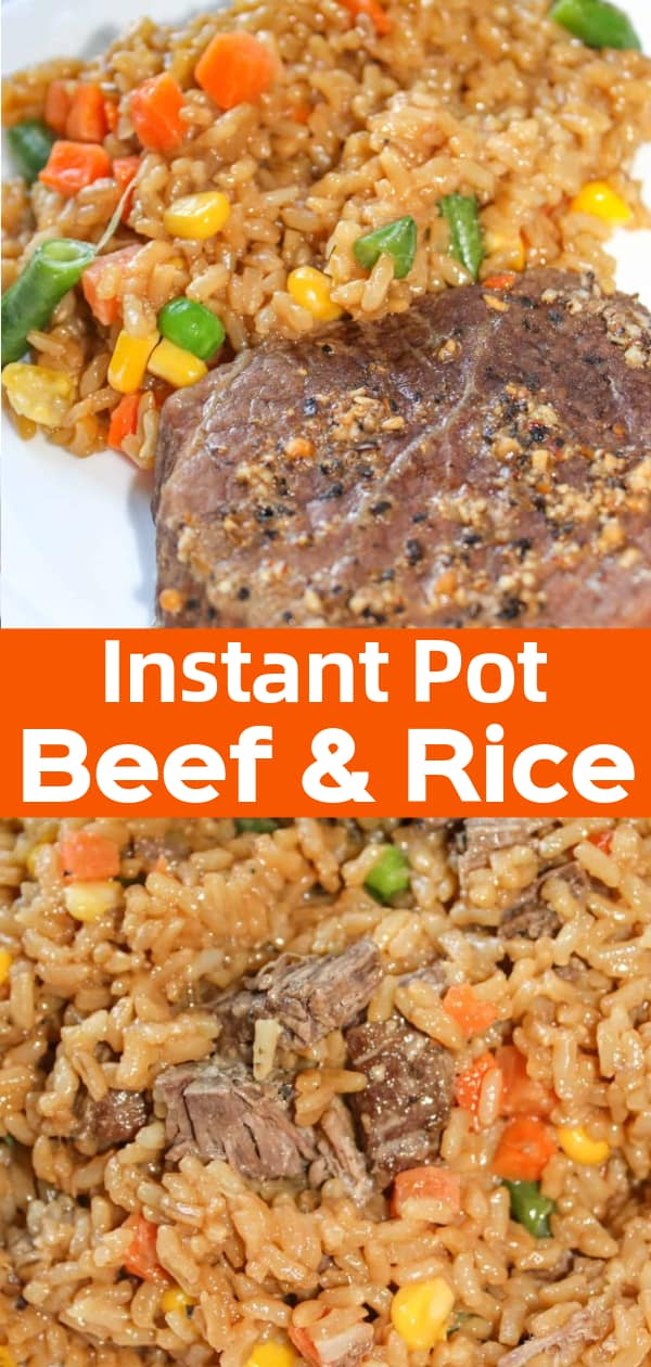 Instant Pot Beef and Rice is an easy gluten free dinner recipe. This one pot meal consists of steak and rice loaded with vegetables in a gluten free soy sauce.