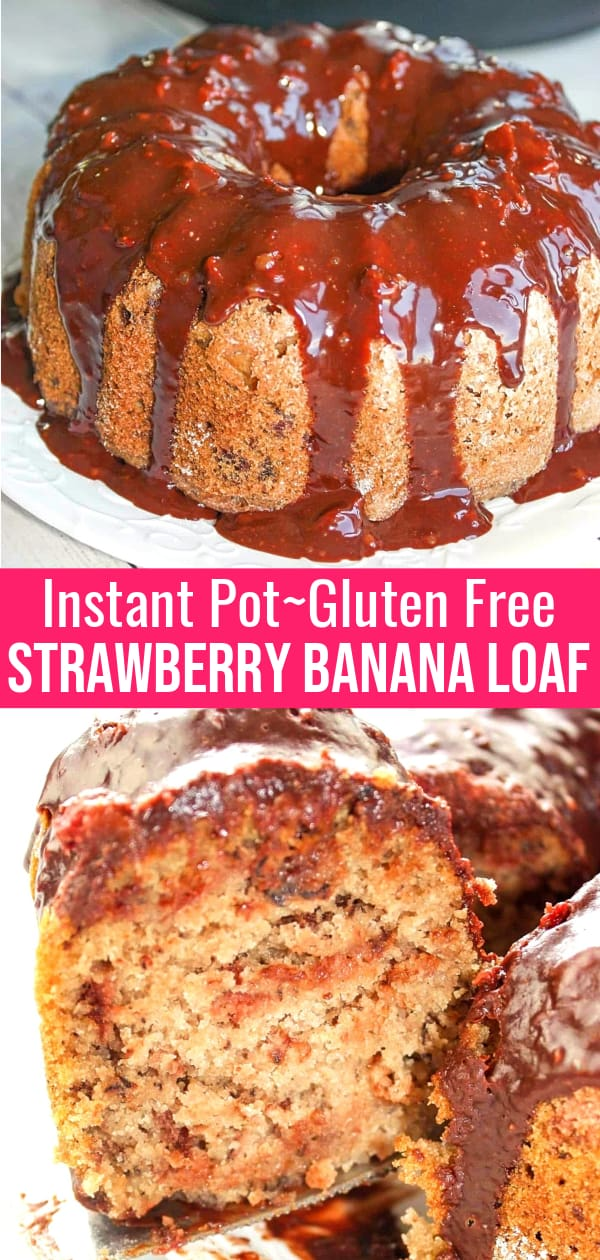 Instant Pot Strawberry Banana Loaf is a delicious gluten free pressure cooker treat. This tasty loaf is made with Bob's Red Mill flour and loaded with mashed bananas and strawberries. This gluten free banana bread is finished off with a chocolate glaze.