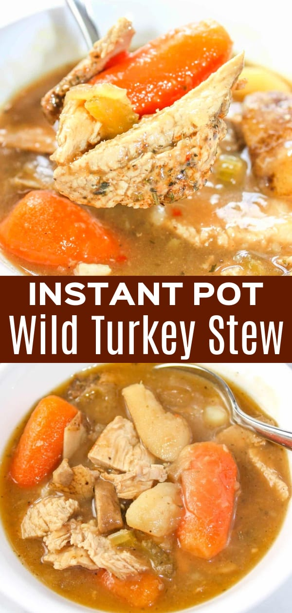 Instant Pot Wild Turkey Stew is a hearty gluten free stew recipe loaded with turkey breast meat and vegetables in a thick gravy.  This pressure cooker stew is a great way to incorporate the results of the latest hunt into your meal plan.