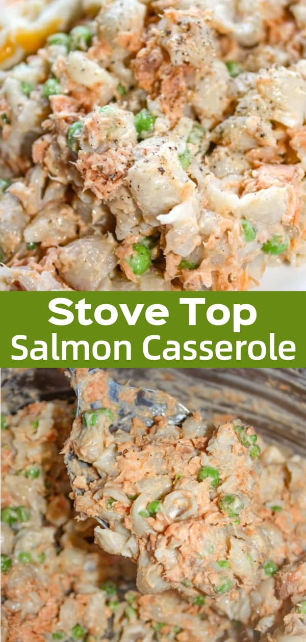 Stove Top Salmon Casserole is an easy gluten free dinner recipe. This stove top dinner is made with canned salmon, pasta and peas.