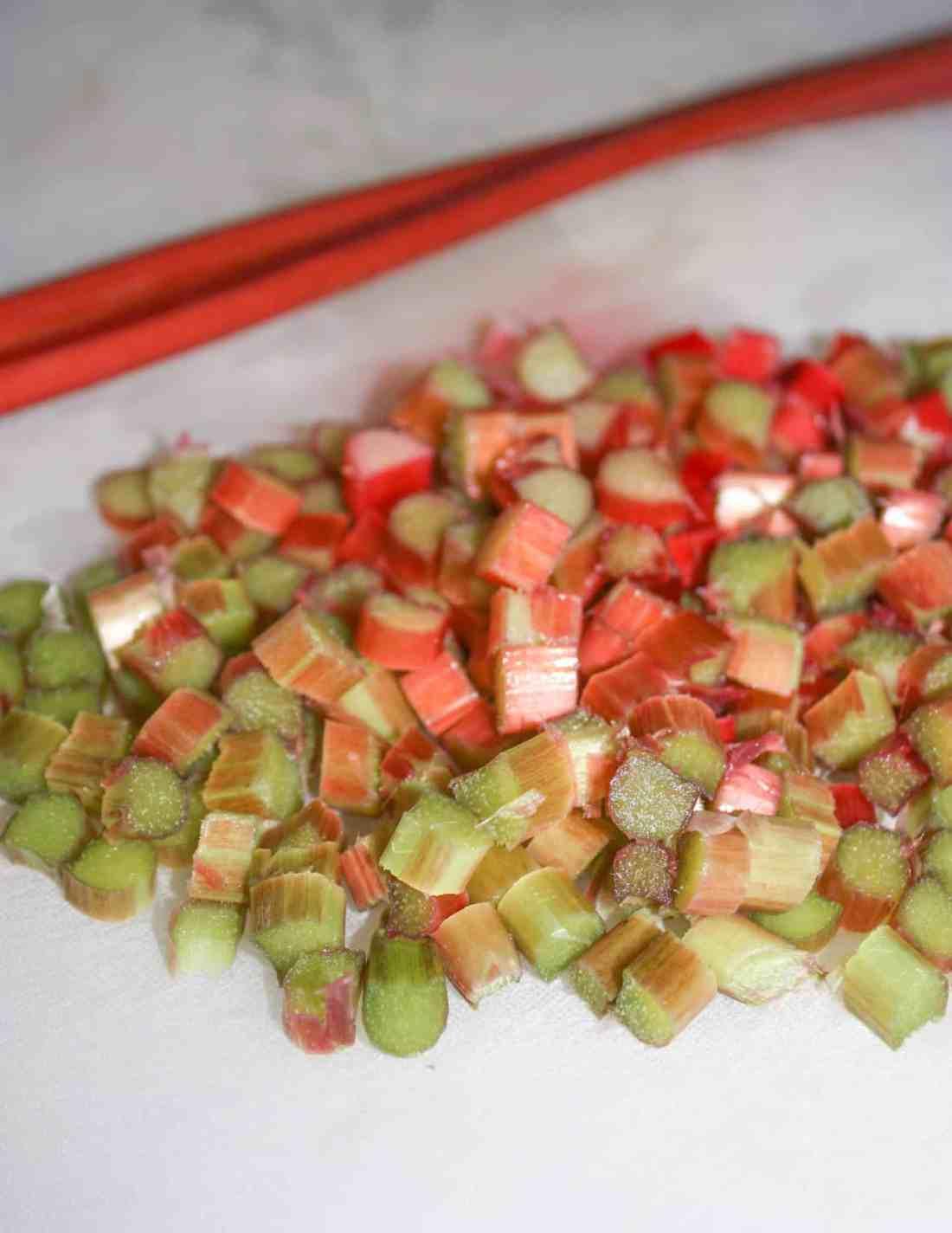 The diced rhubarb.