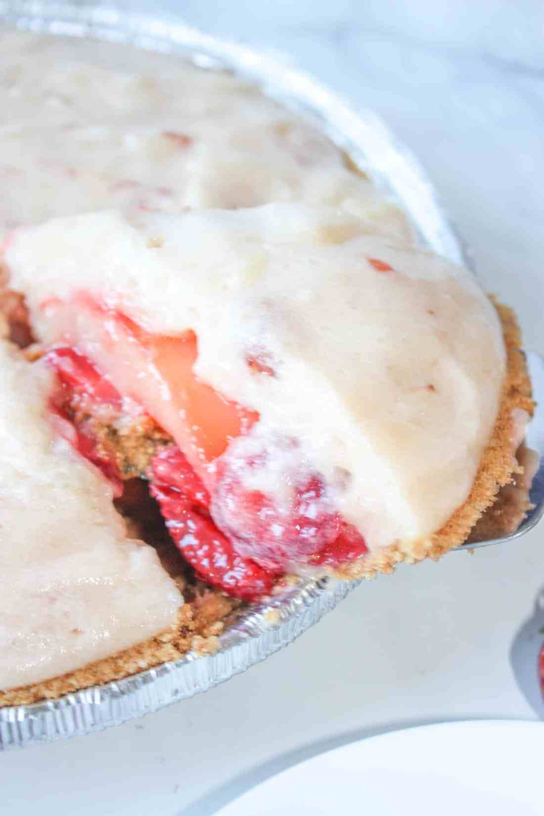 Lemon Strawberry Pie is a delectable blend of summer flavours layered on top of a gluten free graham crust.