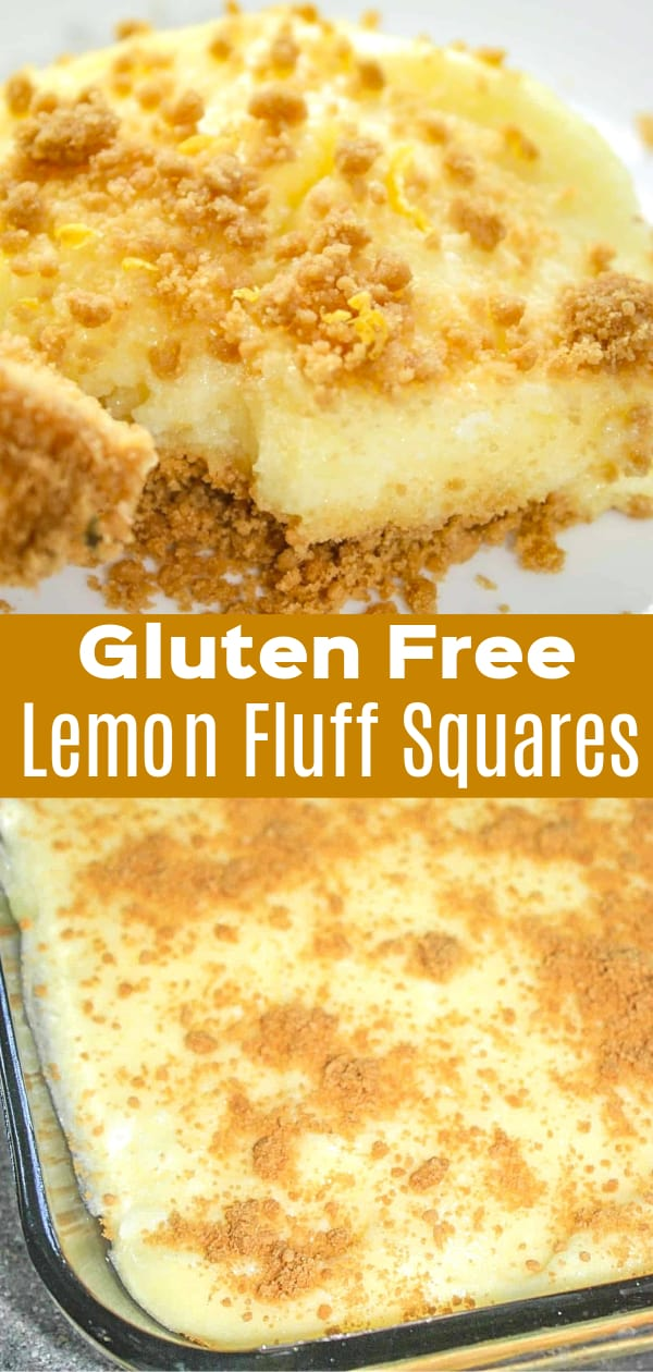Lemon Fluff Squares are an easy gluten free dessert perfect for summer. A gluten free graham cracker base is topped with fluffy lemon pie filling.