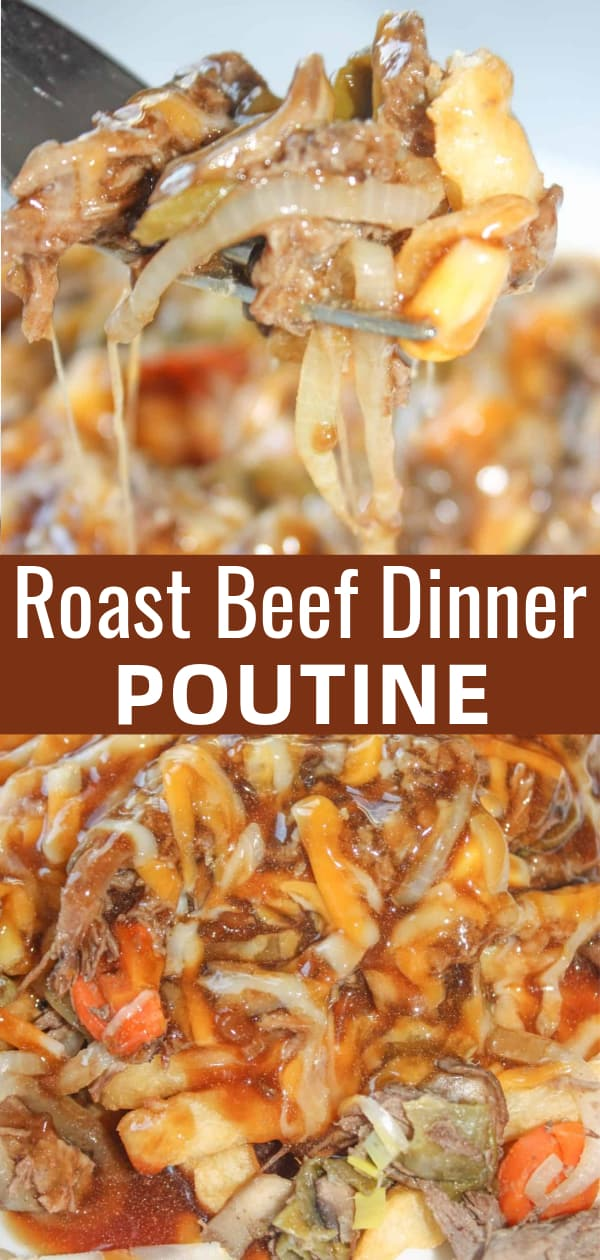 Roast Beef Dinner Poutine is a delicious weeknight dinner recipe. Crispy french fries are topped with shredded roast beef, veggies, shredded cheese, cheese curds and gluten free gravy.