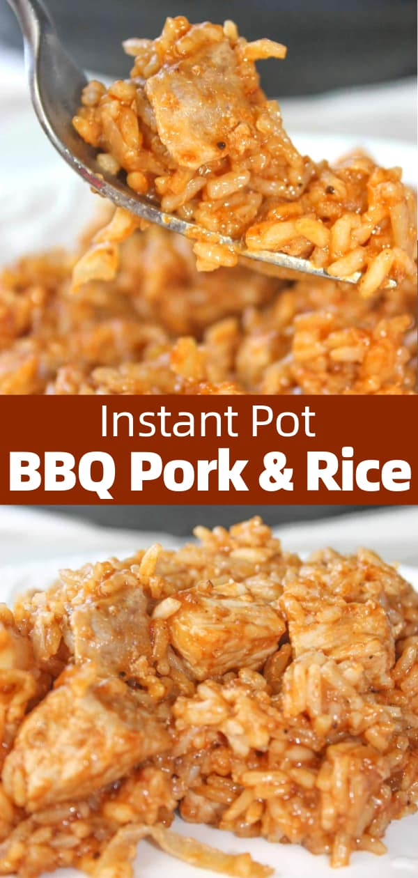 Instant Pot BBQ Pork and Rice is an easy pressure cooker dinner recipe. This gluten free dinner recipe is loaded with pork loin and rice all coated in barbecue sauce.