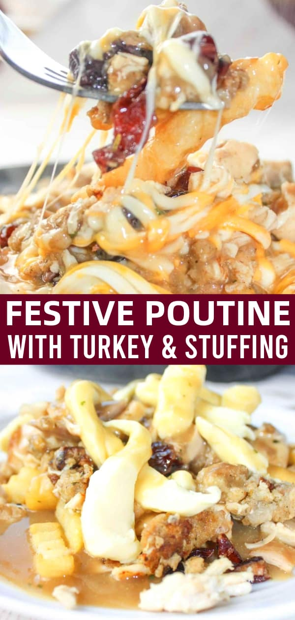 Festive Poutine is loaded with chopped turkey and gluten free Instant Pot Festive Stuffing from this site. This particular stuffing contains chopped pecans, bacon crumble and dried cranberries which add flavour and texture to this dish.