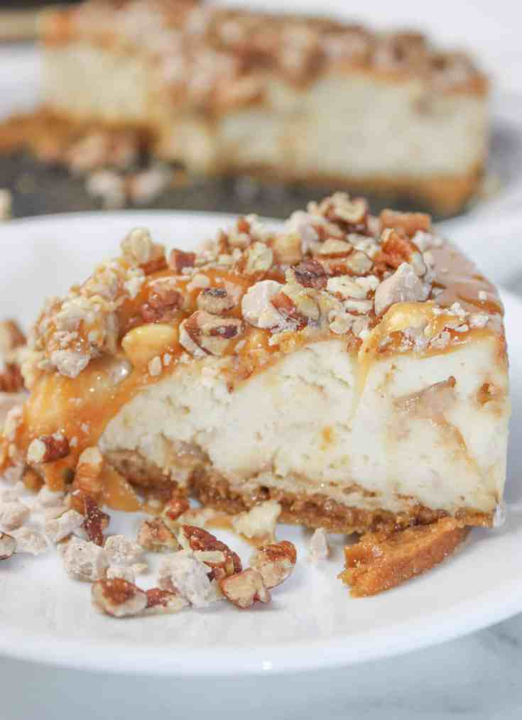 Instant Pot Salted Caramel Pecan Cheesecake is another decadent recipe for us no gluten, low dairy people! It is so easy to make a cheesecake in a pressure cooker.