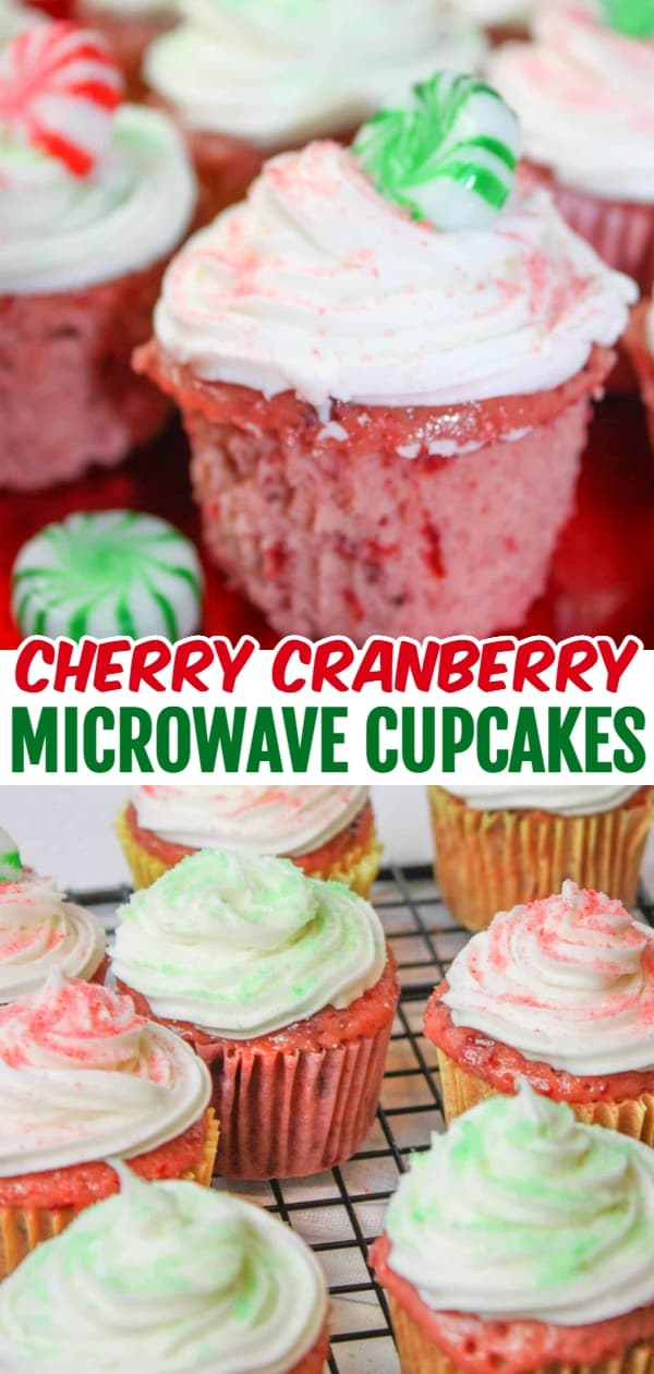 Microwave Cherry Cranberry Cupcakes are a quick and easy gluten free dessert.  This moist, colourful cake decorated to suit the season, is a great addition to any holiday dessert tray.